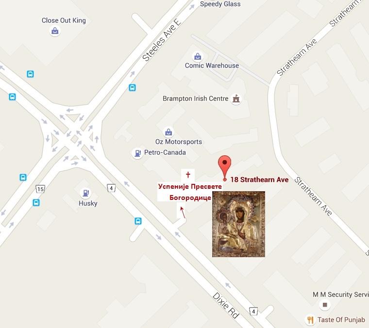 мапа за катакомбни храм Успеније Пресвете Богородице